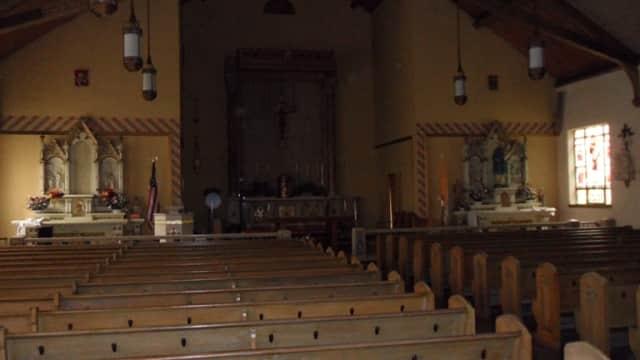 An interior view of Sleepy Hollow Church.