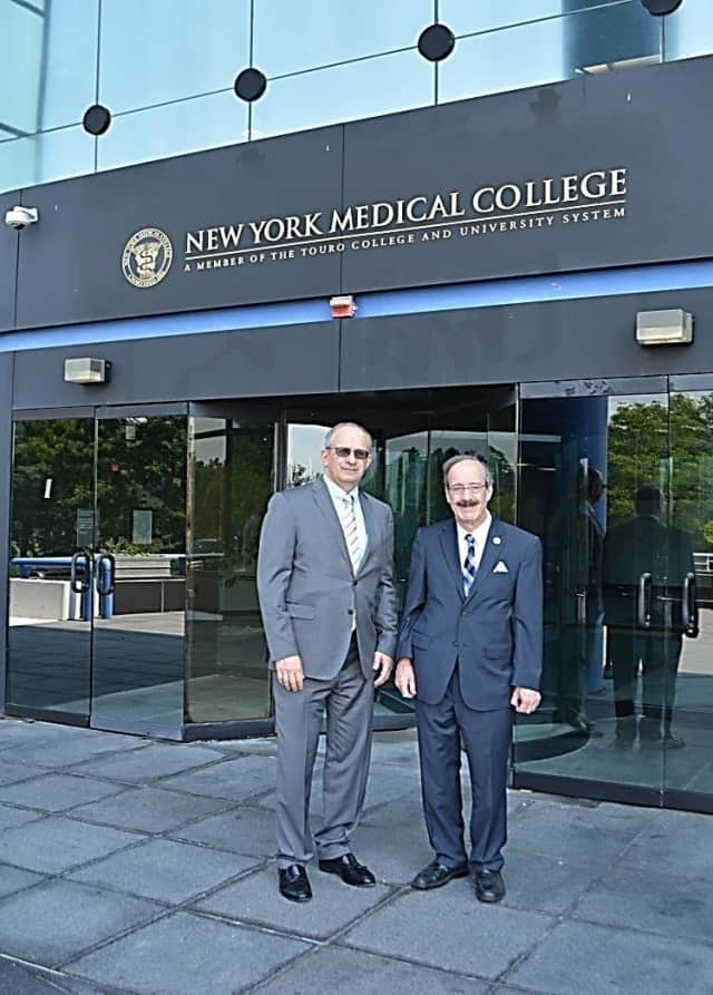 New York Medical College President Alan Kasish, left, gave U.S. Rep. Eliot Engel a tour of its Valhalla campus and newer facilities in Hawthorne.