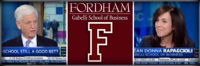 Fordham School of Business dean Donna Rapaccioli makes an appearance on national TV.