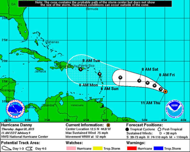Hurricane Danny, the first hurricane of the 2015 season, has formed and is headed towards Puerto Rico.