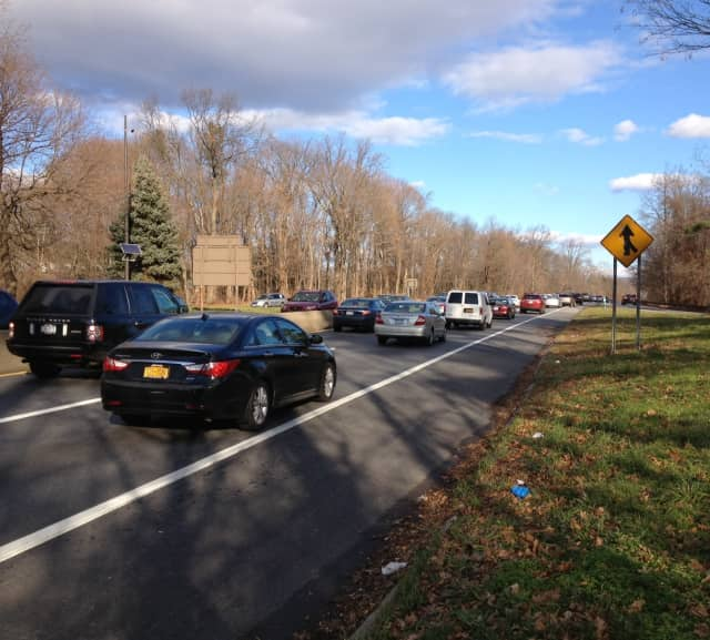 The accident near Mamaroneck Road in Scarsdale caused traffic to back up.