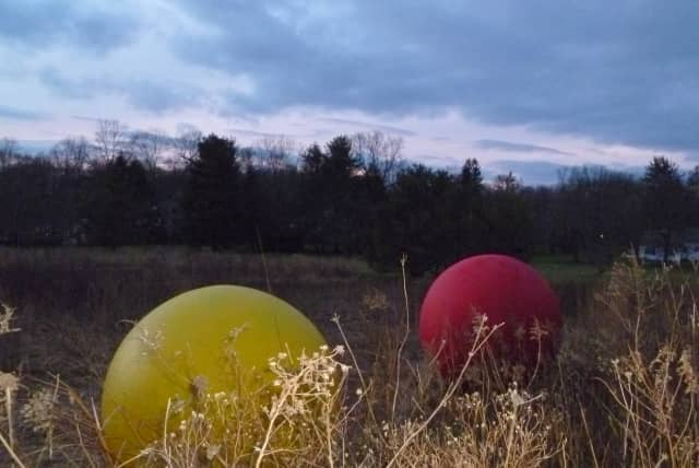 "These two spheres on the Keeler Ridge Meadow site off Route 33 in Wilton are part of ""All One Color,"" an exhibit by artist Christopher Curnan."
