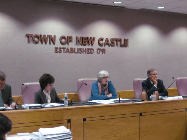 From left: Town officials Jason Chapin, Elise Mottel, Susan Carpenter and Robin Stout decide to extend the Chappaqua Station public hearing once again, this time until Jan. 22.