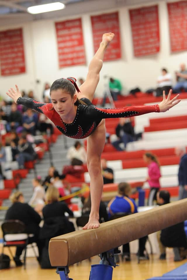 Wilton gymnast Jessica Olin competing at the Level 6 state championships last weekend in Southbury.