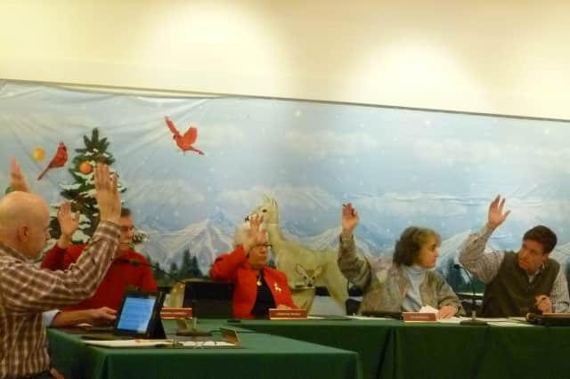Members of the New Canaan Town Council vote Wednesday to approve an appropriation for the Lakeview Avenue Bridge construction and arbitration costs.