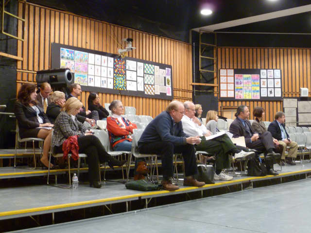 Fox Lane Middle School's Little Theater housed a much larger audience than usual at the Bedford Central School District's Board of Education meeting Wednesday. Rob Wright revealed results of the district's community survey on its capital plan.
