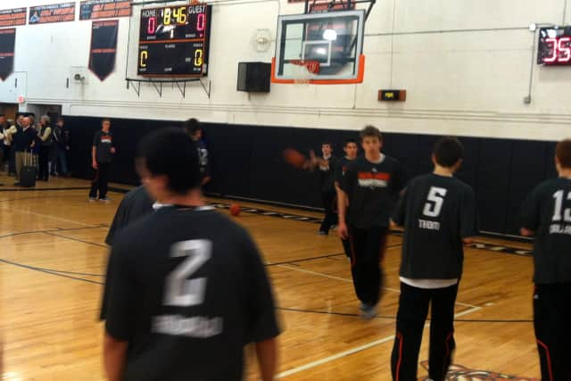 The Croton-Harmon High School boys' basketball team warmed up Thursday before its game against Putnam Valley.