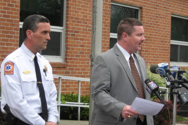 Bedford officials announce an arrest in a home invasion and arson on Broad Brook Road in Bedford Hills.