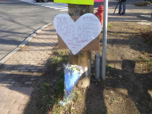 Memorials appeared throughout Newtown after the shooting at Sandy Hook Elementary School.