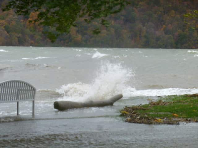 Hurricane Sandy pushed the Hudson River over its banks along the Rivertowns shoreline.