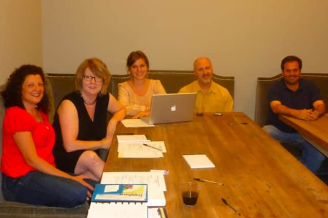 From left: Linda Degelsmith, Dawn Greenberg, Tara Mikolay, Rob Greenstein, and Rich Glotzer at the Chappaqua-Millwood Chamber of Commerce preliminary meeting in May.