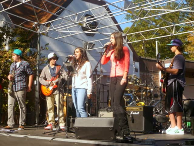 The Fox Lane Rock Ensemble performs at the Pound Ridge Harvest Festival last October. More 2,000 people attended.