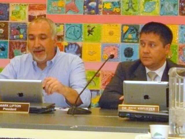 Katonah-Lewisboro School Board President Mark Lipton, left, and Superintendent Paul Kreutzer attend a recent board meeting.