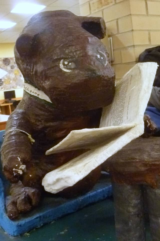 We found this reading bear in Irvington.