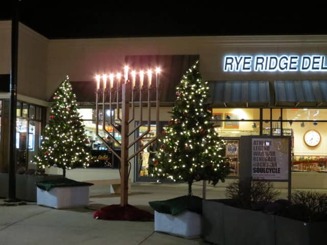 Rye Ridge plaza in Rye Brook is decked out for the holidays.