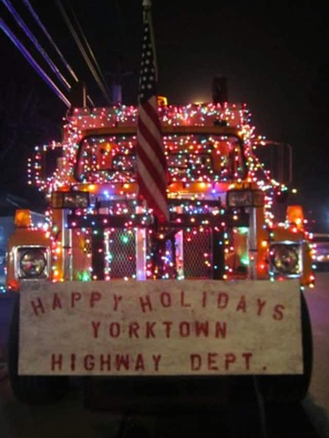 The Yorktown Highway Department won first prize in this year's holiday lights parade.