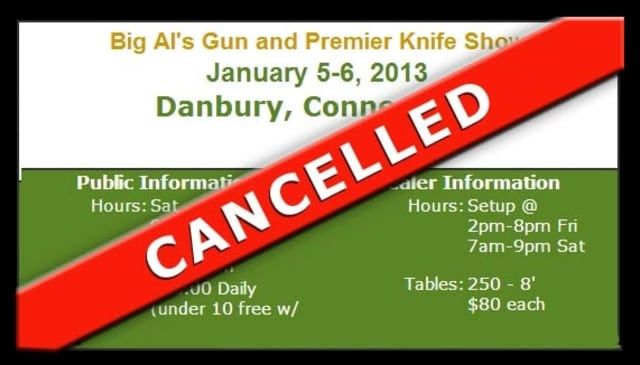 A gun show scheduled for Jan. 5-6 in Danbury has been canceled in the wake of the Newtown tragedy.