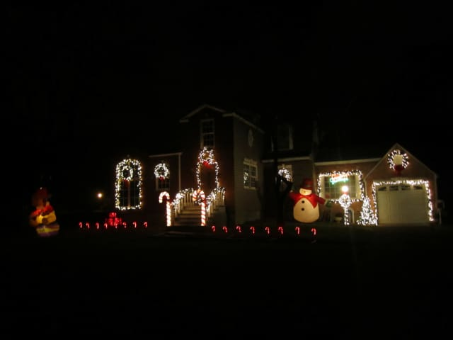 A home on Dalmeny Road in Briarcliff Manor lights up for the Christmas season.