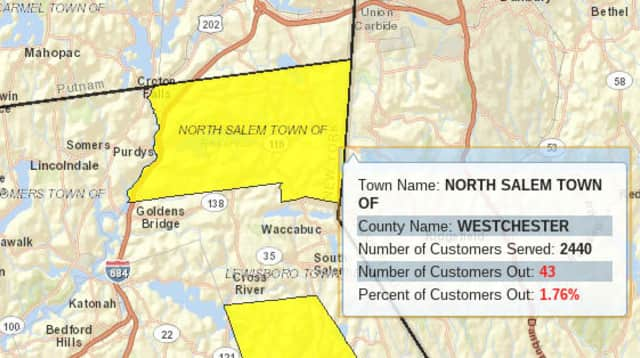 A windy snow and rain storm left parts of North Salem without power Thursday morning.
