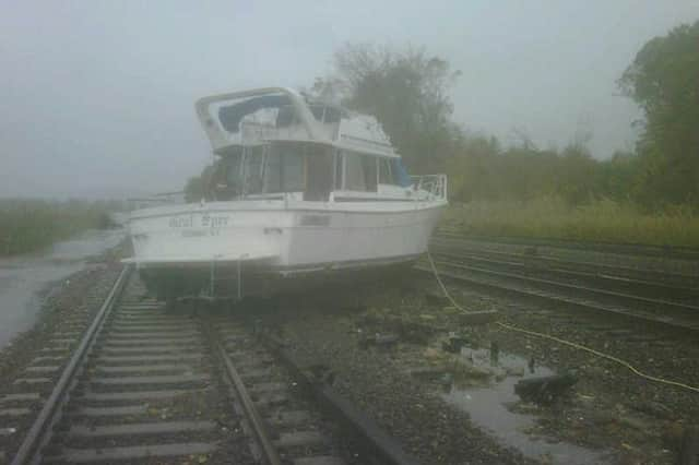 A boat ended up on the train tracks in Ossining after Hurricane Sandy blew in on Oct. 29.