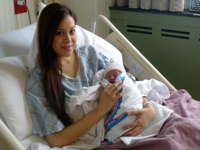 Claudia Ceja of Port Chester delivered her daughter, Emiliana Lopez, at 7:04 a.m. Tuesday inside Phelps Memorial Hospital, the first baby of 2013 to be born at the hospital.