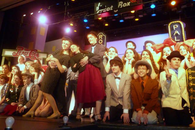 """The cast from last year's John Jay spring musical, """"Guys & Dolls."""" Some alumni will return to perform in """"Encore Cabaret."""""""