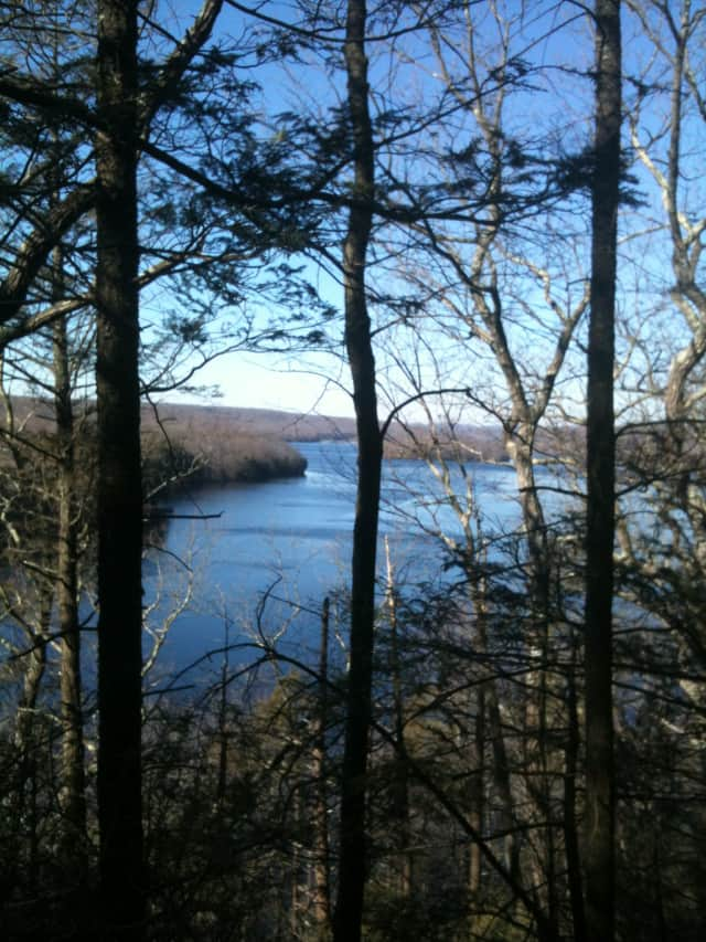A view of the Saugatuck Reservoir from Trout Brook Valley.