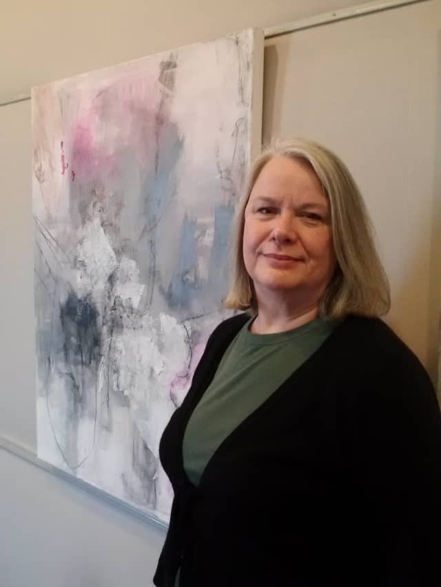 The artwork of Ruth Carlucci is on display at the Harrison Public Library.