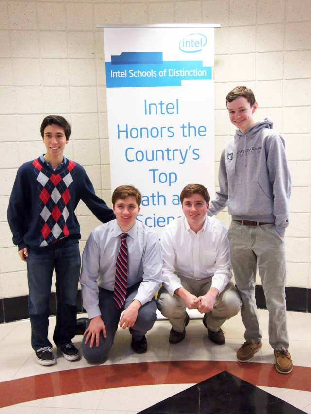 Ossining and Briarcliff Manor students recently were named Intel  award semifinalists. From left are Caleb Hersh, Sam Rude, Eitan Rude and Daniel McQuaid. Briarcliff High School student Mark Moretto also is a semifinalist