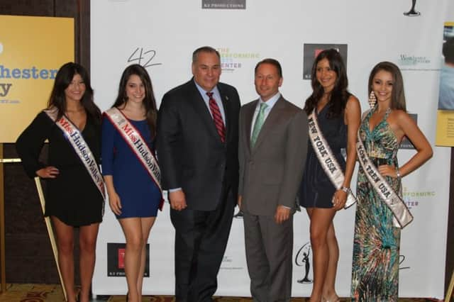 Former New York State Assembylman Robert Castelli and Westchester County Executive Robert Astorino are pictured with the 2011 beauty pageant winners.