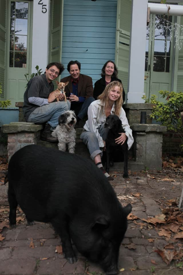 The Zeitlin family, from left, Benh, Steven, Amanda and Eliza (front) with several pets who appeared in Benh's Oscar nominated film.