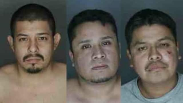 From left, Neftali Gonzalez-Mercado, Daniel Bicello and Ellis Maya of Port Chester were charged with possession of cocaine, police said.
