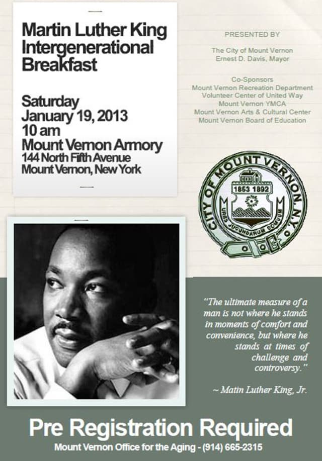 The Mount Vernon Armory is the site of an intergenerational breakfast to honor Dr. Martin Luther King, Jr. this weekend.