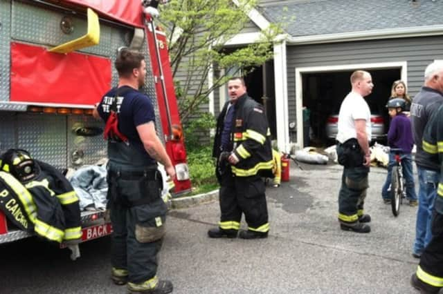 Irvington firefighters battled a house fire on Sunday.