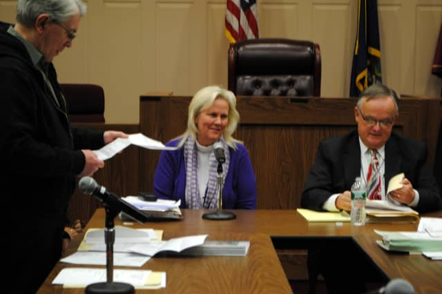 From left, Cortlandt Town Board member John Sloan, Supervisor Linda Puglisi and Town Attorney Tom Wood discuss the new hiring policy.