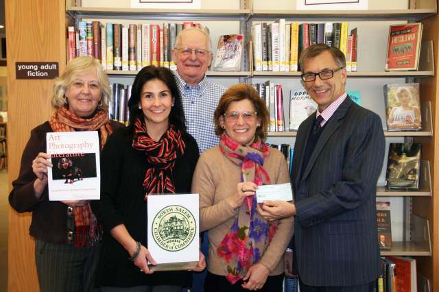 (from left) Ruth Keeler Library Director Carolyn Reznick, Christine Renda, Tim Purdy, Pam Pooley and Michael McAnaw.