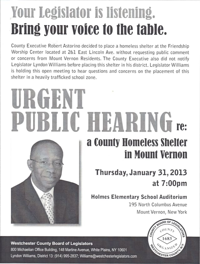 A public hearing will be held in Mount Vernon about Westchester County's bid to open a homeless shelter on East Lincoln Avenue.