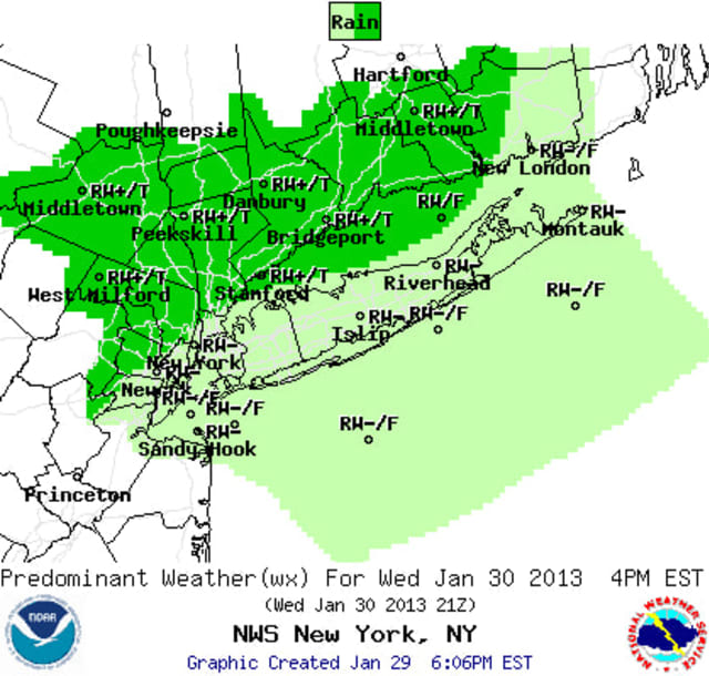 Westchester County will see heavy rain and wind throughout the day Wednesday, according to the National Weather Service.