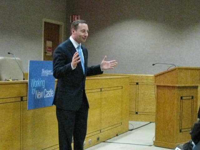 Westchester County Executive Rob Astorino spoke in New Castle on Tuesday night.