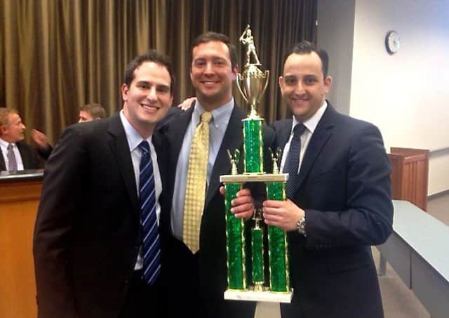 From left: Greg Dreyfuss, Dan Masi, and Jared Hand won the top honor at the sixth annual Tulane National Baseball Arbitration Competition.