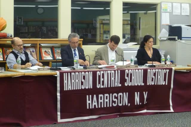 Superintendent Lou Wool brings up improved security measures in his report to the Harrison Board of Education on Wednesday night.