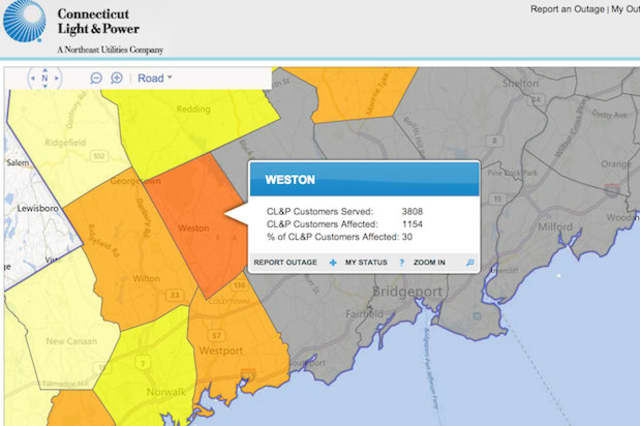 Cl P Power Outage Map.Weston Schools Delayed 1 100 Power Outages After Storm Westport