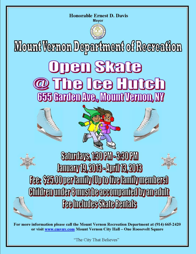 The Mount Vernon Recreation Department is offering free ice skating on Saturdays at the Ice Hutch.