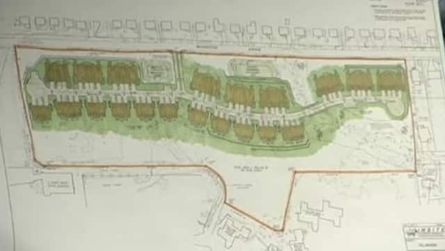 A view of the proposed plan for 70 townhouses along Washington Avenue. Single family homes along the road sit north of the property.