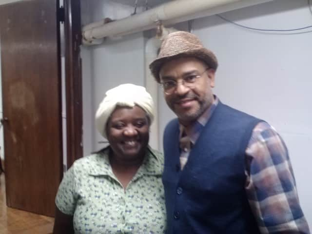 Playwright Vienna Carroll (left) and Director/Musician Keith Johnston performed a play about the unsung heroes of the Underground Railroad on Saturday at the Mount Vernon Public Library.