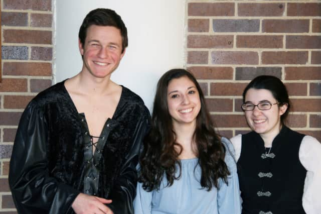 "From left, Jason Teplensky, Caitlin Franze and Alexa Salvato of the North Salem High School Drama Club star in ""The Princess Bride"""