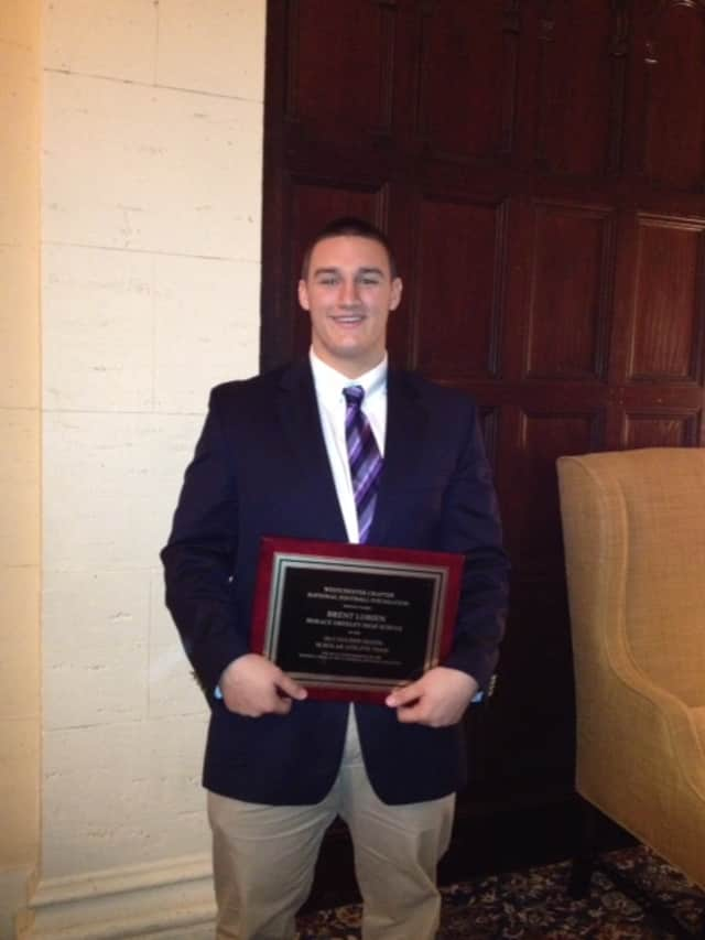 Horace Greeley senior Brent Lobien received one of Westchester County's 12 National Football Foundation Golden Dozen awards last week.