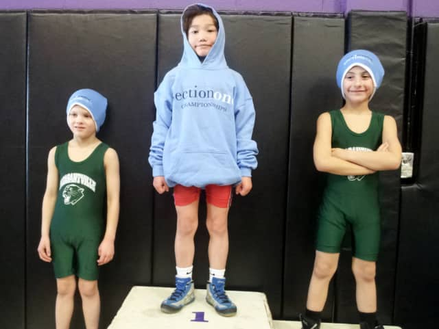 Eight-year-old  August Hibler, center, took first place in the four-county (Dutchess, Putnam, Rockland and Westchester) Section One State Qualifier Wrestling last weekend at John Jay High School in Cross River.