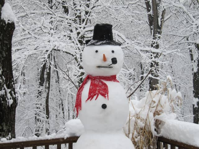 Some are enjoying the snowstorm by building snowmen like this one.