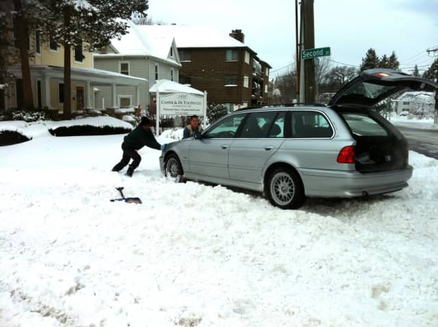 German engineering on this BMW couldn't handle the snow in Stamford on Saturday.